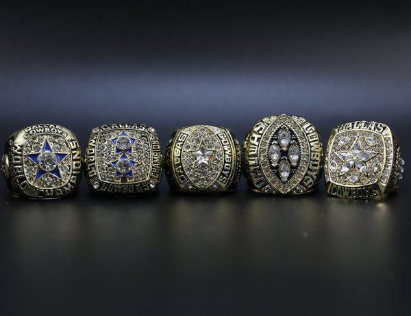 5 Set Championship Rings NFL Dallas Cowboys 1971-1995 Gold