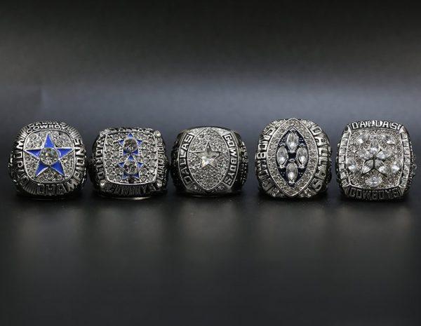 5 Set Championship Rings NFL Dallas Cowboys 1971-1995 Silver