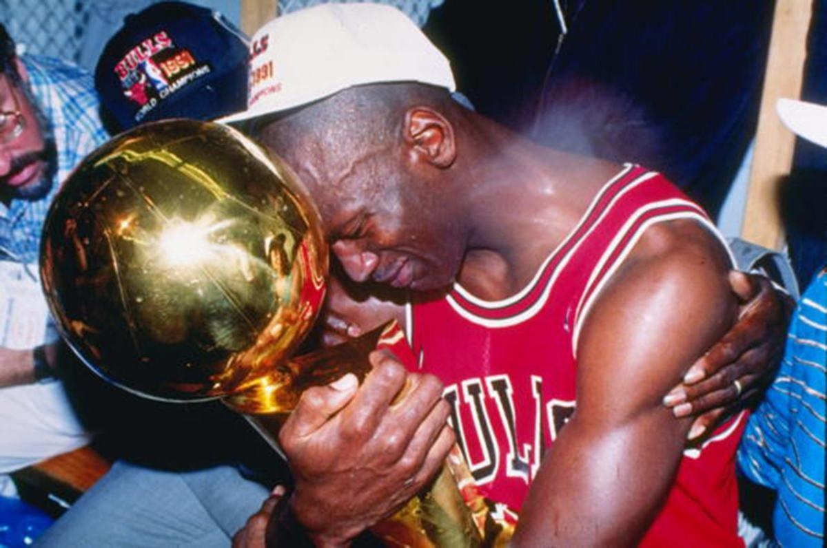 Michael Jordan Winning NBA Championship