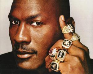 Michael Jordan and his 6 Championship Rings